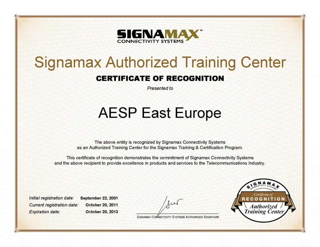 Signamax Authorized Training Center Certificate - AESP East Europe - 2011.jpg